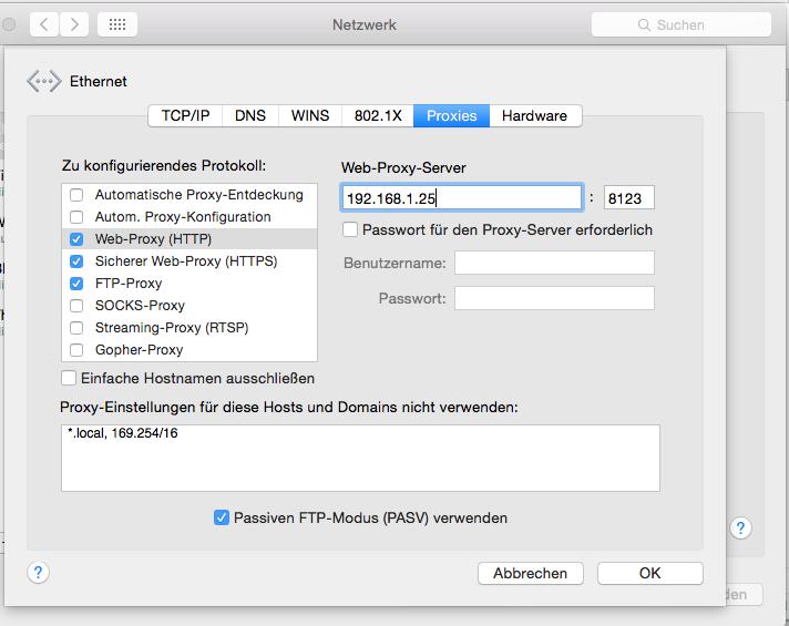 how to create a proxy server on a mac