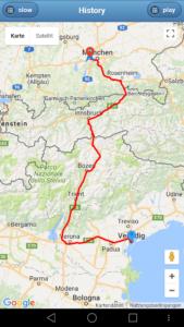 Gesamtstrecke München - Venedig GPS-Auto Tracker