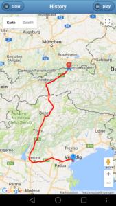 Teilstrecke München - Venedig GPS-Auto Tracker