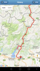 Teilstrecke Italien Gardasee - GPS Tracker Auto